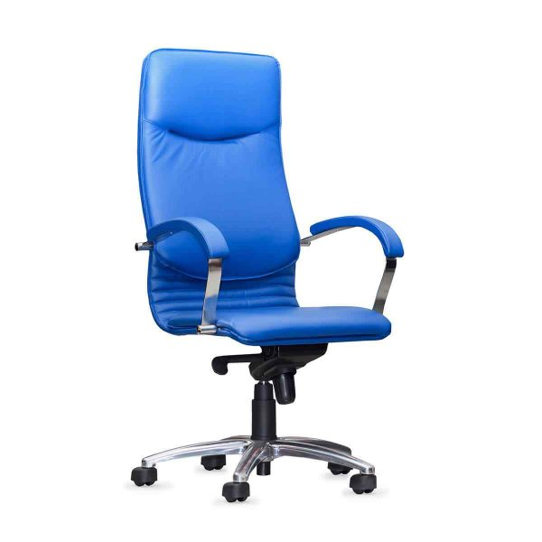 Blue leather office chair 1